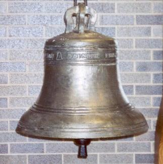 The 1813 bell by Edwin Hedderly. Note the bell badge on the inscription